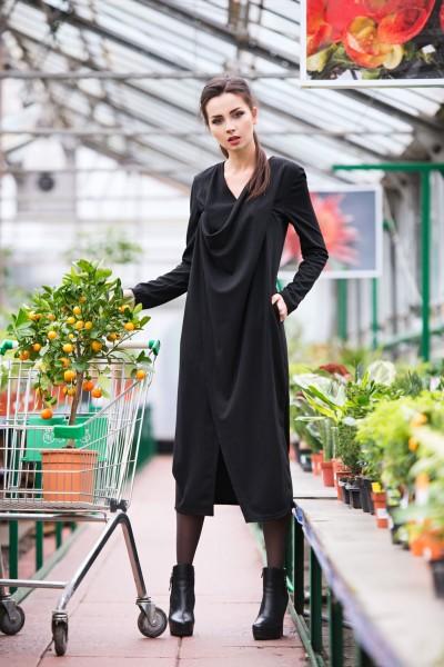 Платье черное трикотаж с драпировкой 40191
