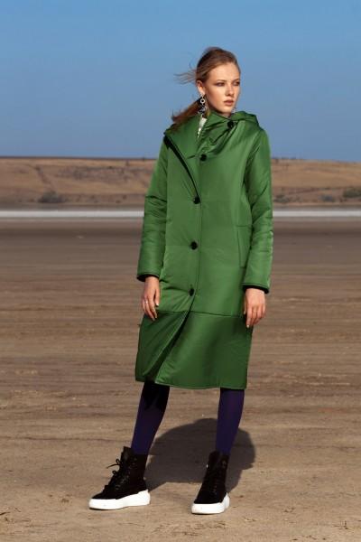 Пуховик зеленый миди на пуговицах 40606