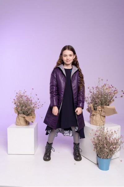 Пальто зимнее удлиненное фиолетовое с поясом 40704