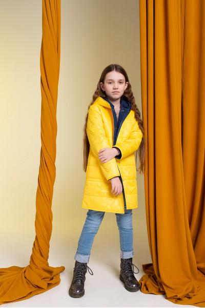 Удлиненное зимнее пальто желтое 40705