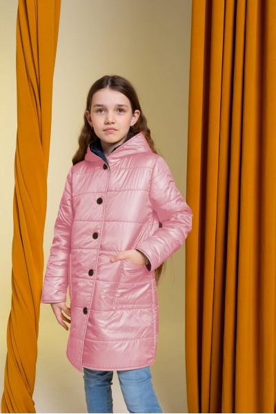 Удлиненное зимнее пальто розовое 40712