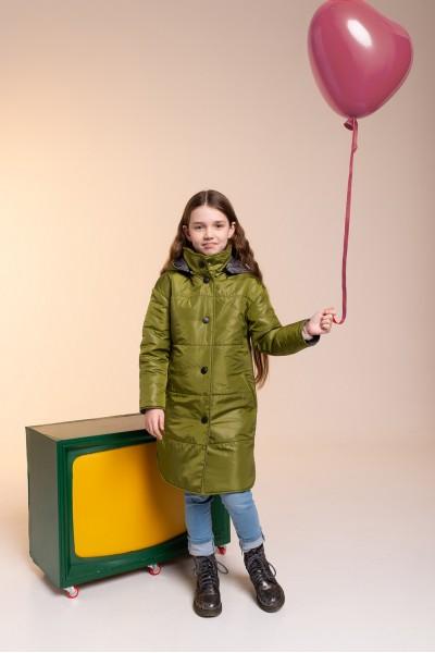 Удлиненное зимнее пальто зеленое 40706