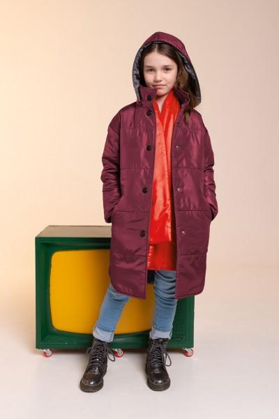 Удлиненное зимнее пальто марсала 40713