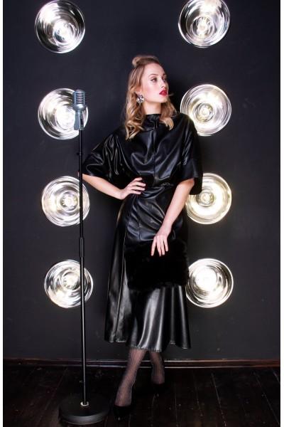 Платье черное из экокожи 40638