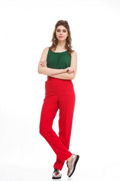Штани червоні висока талія 40067