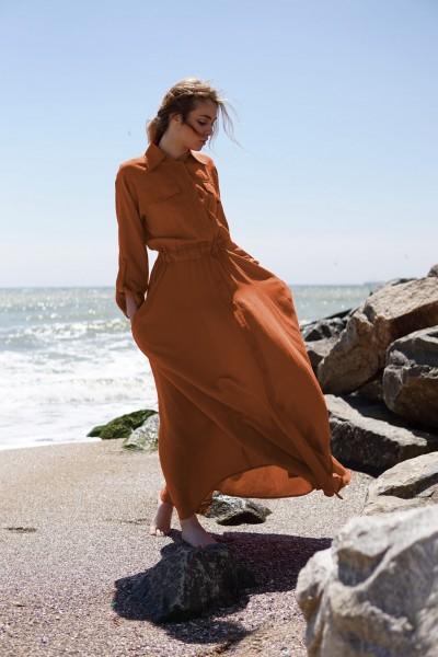 Платье-рубашка макси кирпичного оттенка 40380k