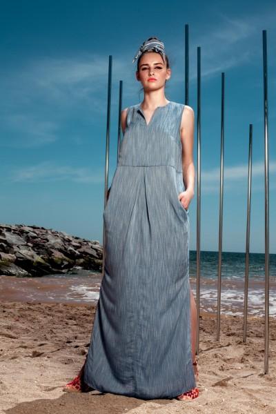 Платье синее макси из хлопка 40397