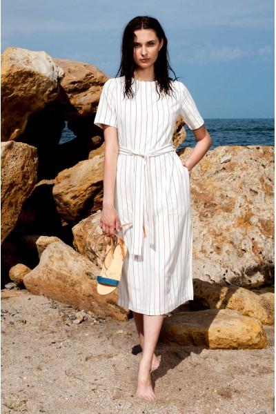 Платье белое прямого покроя в полоску 40564