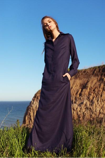 Платье-рубашка макси синее 40123