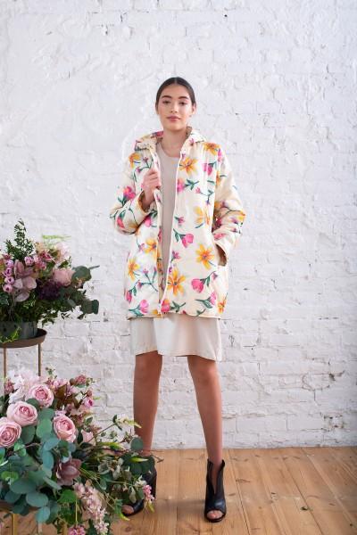 Куртка демисезонная цветочный принт 40720