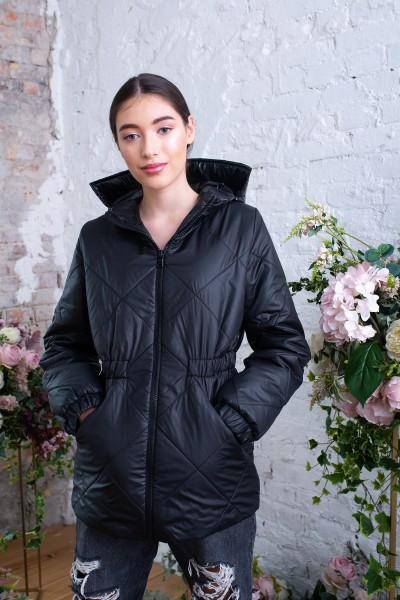 Куртка черная демисезонная матово-глянцевая 40721
