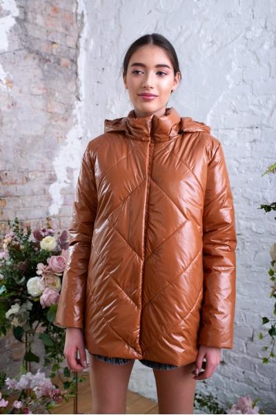 Куртка демисезонная глянцевая рыжая 40718