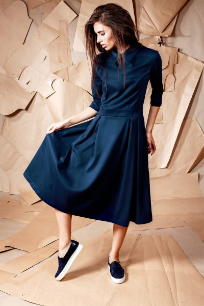 Платье миди синее с воротничком 40121