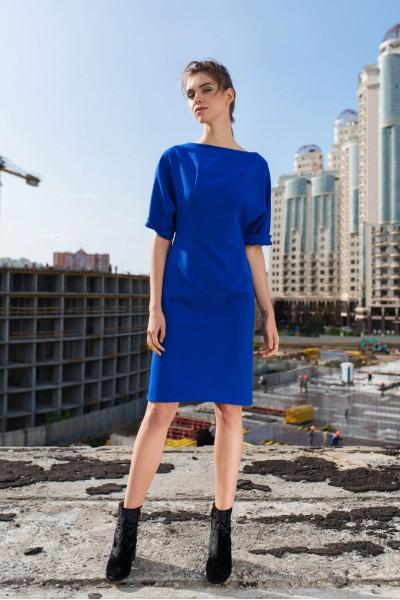 Платье приталенное синее 40291