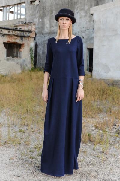 Платье плотный трикотаж свободный крой синее 35047b
