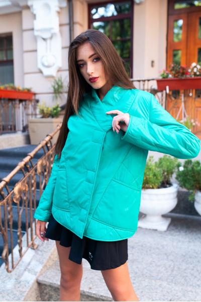 Куртка демисезонная короткая бирюзовая  40717b