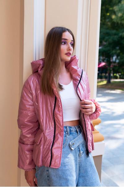 Куртка демисезонная короткая розового цвета 40717a