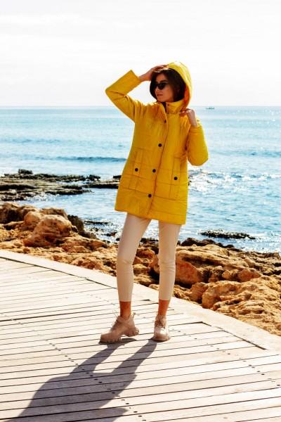 Куртка демисезонная желтая короткая 40701