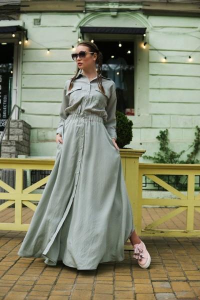 Платье-рубашка мята макси 40381
