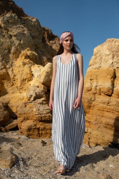 Платье полоска макси синее 40590