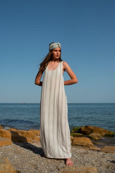 Платье полоска макси белое 40143