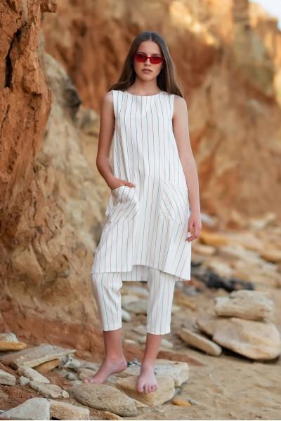 Платье трапеция белая в полоску 40101