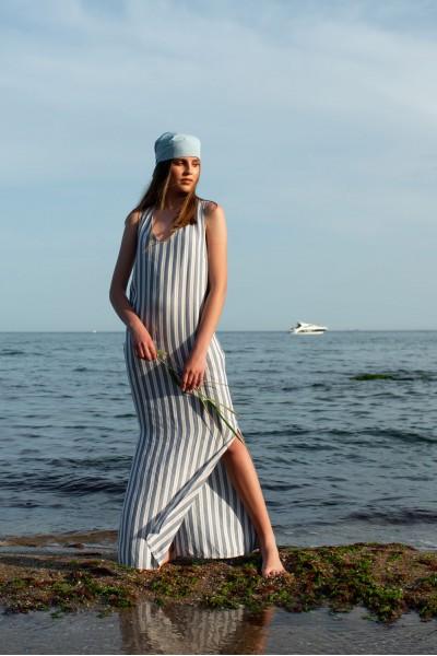 Платье-сарафан голубая полоска макси  35019r