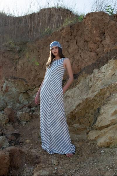 Платье в синюю полосочку макси 40263