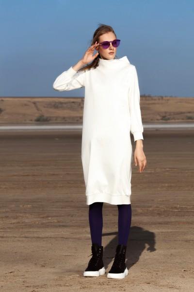 Платье молочное трикотаж 40593