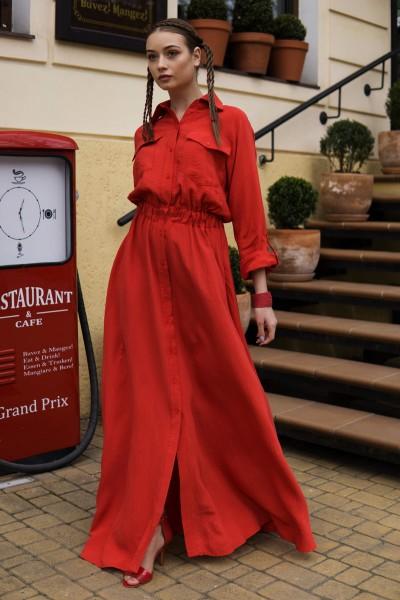 Платье-рубашка макси красная 40380