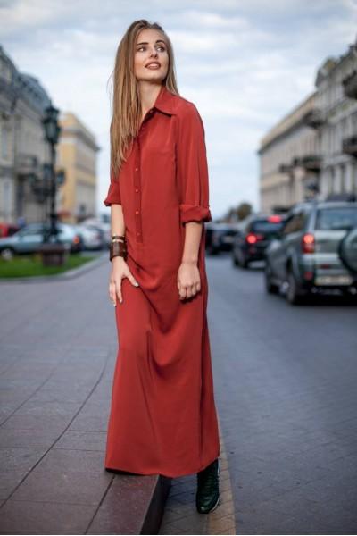 Платье-рубашка терракотовая 40159