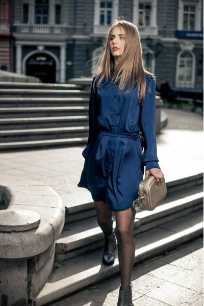 Платье-рубашка синее 40310