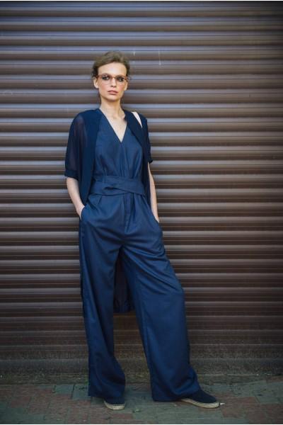 Комбинезон синий широкие штанины 40219b