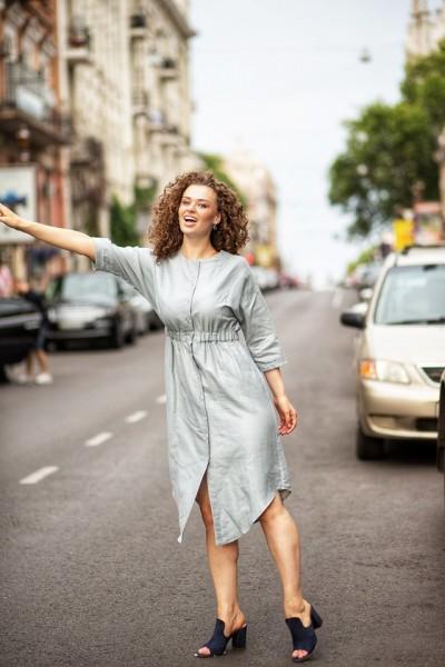 Платье-рубашка голубой лен 40569