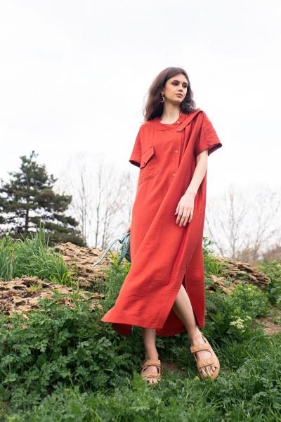 Платье-рубашка макси терракотовая 40724
