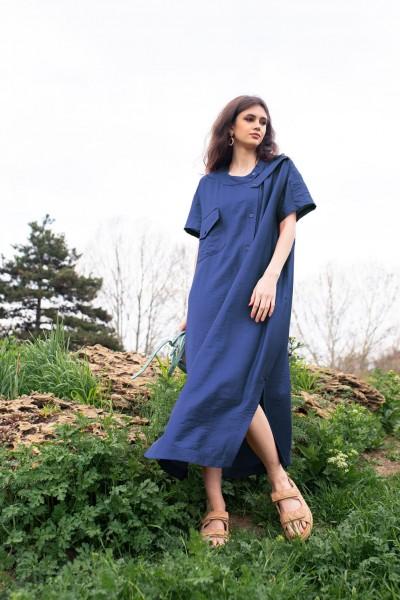 Платье-рубашка макси синее 40724b