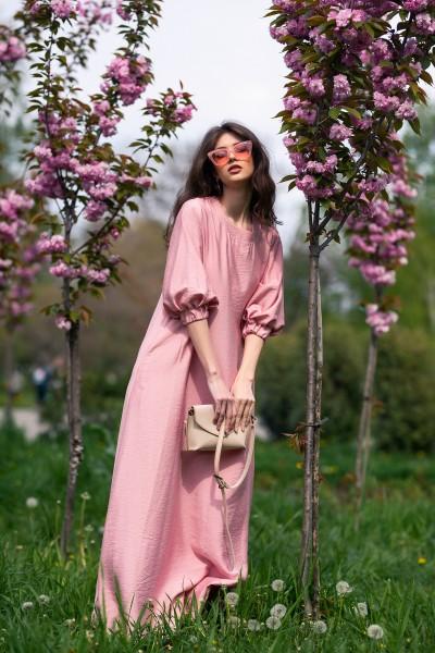 Платье макси розовое макси трапеция 40728