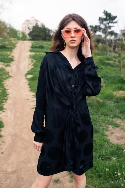 Платье-рубашка черное в горох 40731
