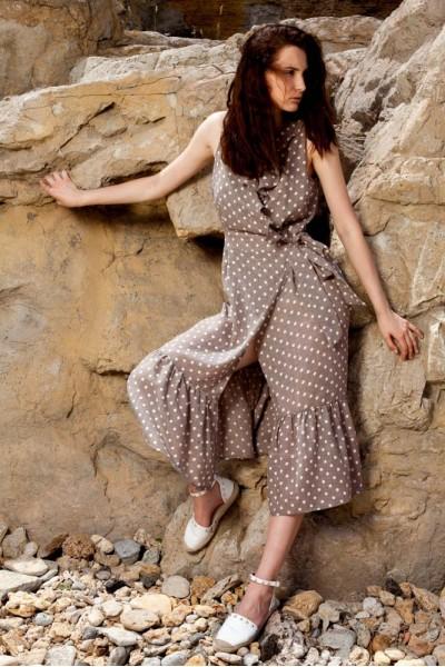 Платье с воланами в горошек 40570
