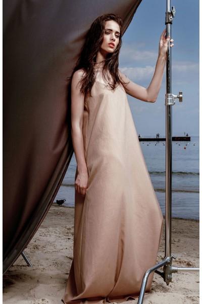 Платье-майка бежевое макси из льна 40105