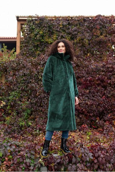 Шуба искусственный мех зеленая 40749