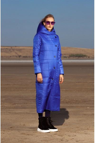 Пуховик синий миди 40608
