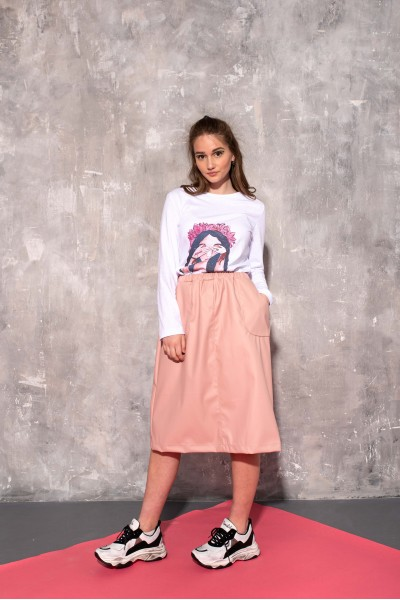 Юбка розовая из экокожи 40688