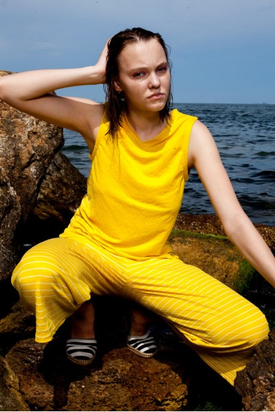 Топ желтый с полосатыми вставками 40583