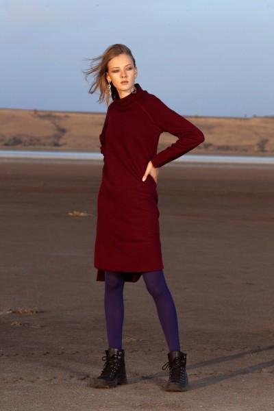 Платье бордовое из трикотажа ангора 40594
