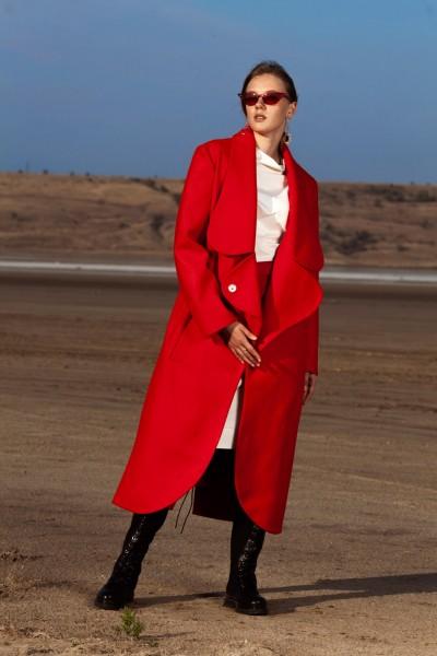 Пальто красное длинное 40601
