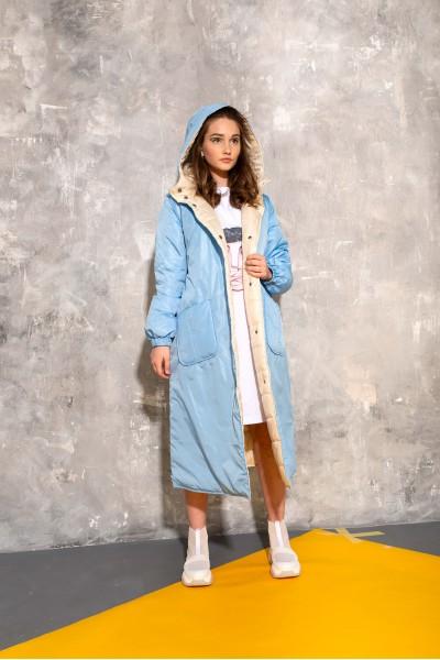 Демисезонное стеганое пальто голубое 40684