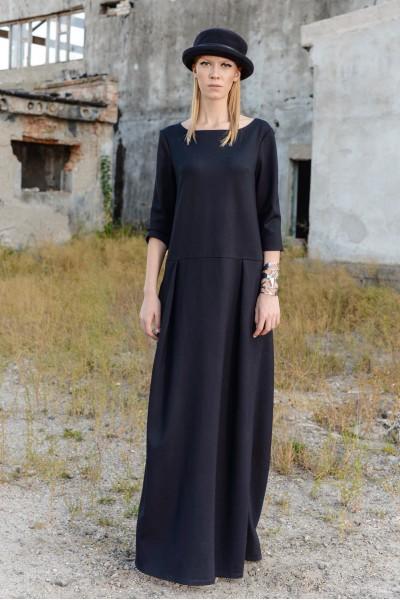 Платье плотный трикотаж макси свободного кроя 35047