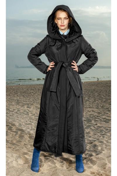 Пуховик-кимоно черный 40625