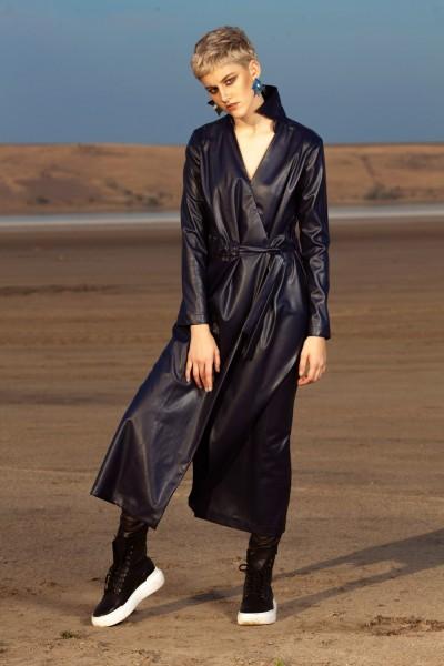 Платье из искусственной кожи темно-синее 40598
